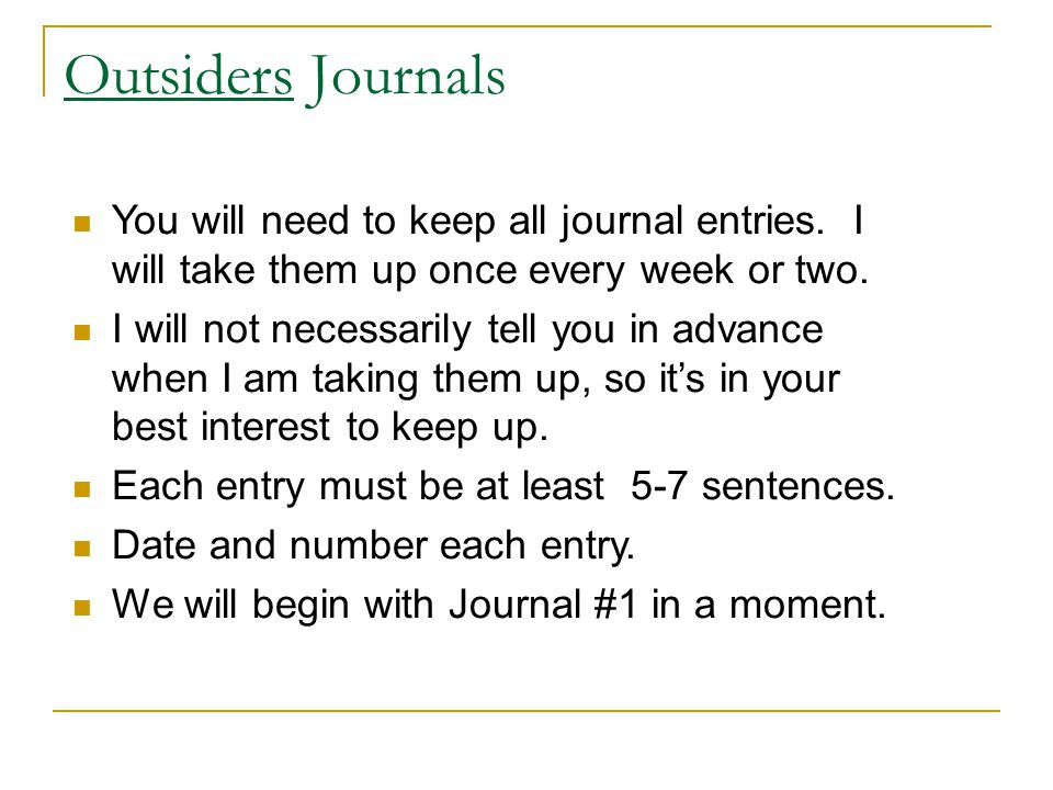 the outsiders journal entries