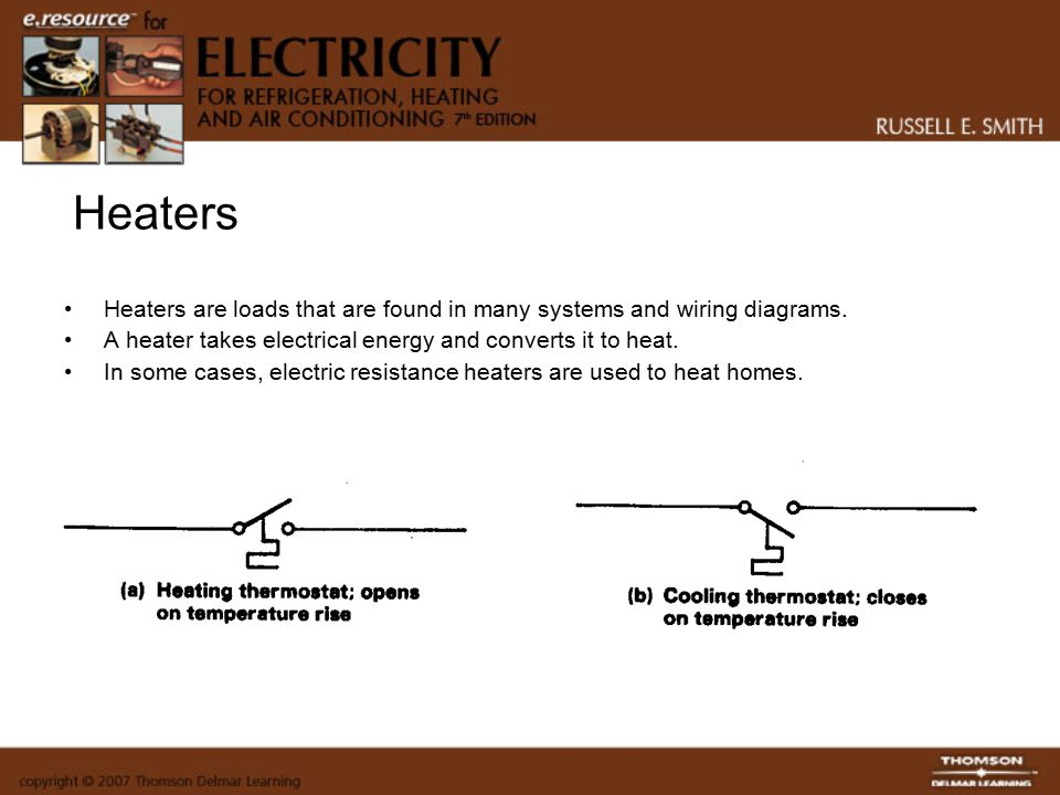 Heaters+Heaters+are+loads+that+are+found+in+many+systems+and+wiring+diagrams.+A+heater+takes+electrical+energy+and+converts+it+to+heat. components, symbols, and circuitry of air conditioning wiring russell evaporator wiring diagram at creativeand.co