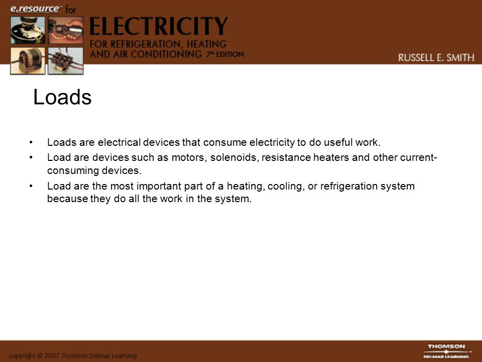 components symbols and circuitry of air conditioning wiring loads loads are electrical devices that consume electricity to do useful work