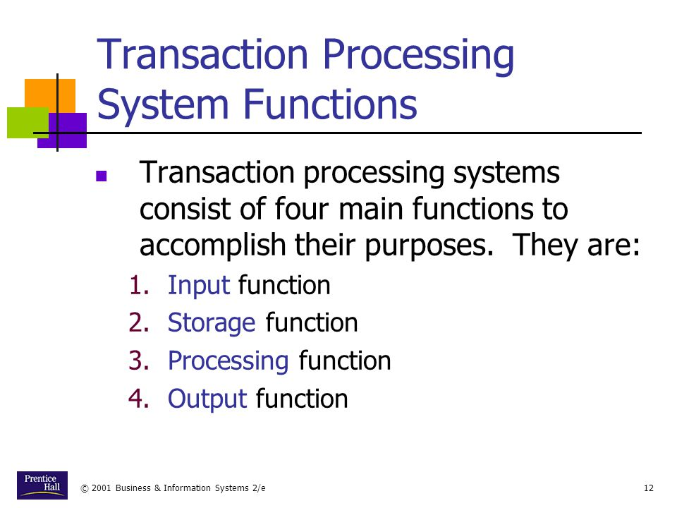 Transaction Processing System Functions
