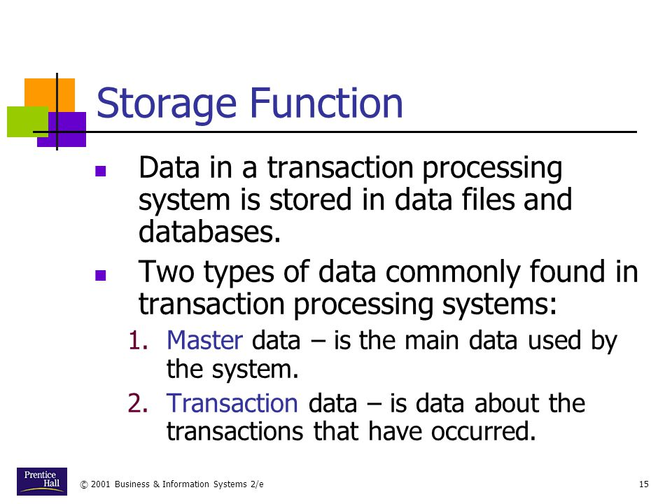 Chapter Storage Function. Data in a transaction processing system is stored in data files and databases.