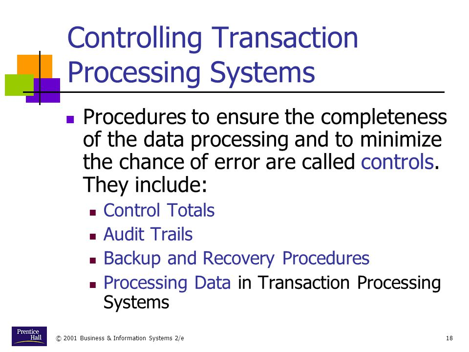 Controlling Transaction Processing Systems