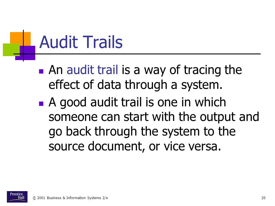 Chapter Audit Trails. An audit trail is a way of tracing the effect of data through a system.
