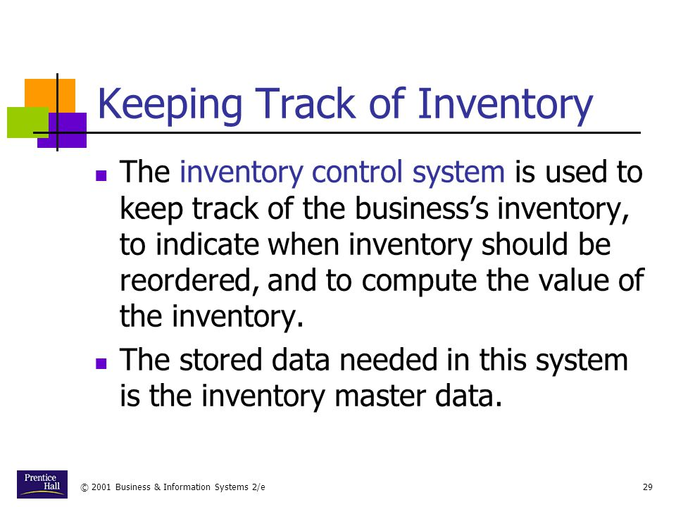 Keeping Track of Inventory