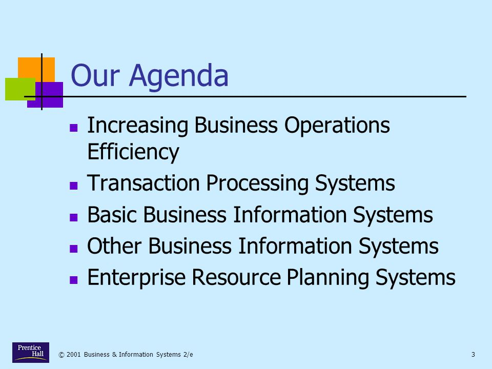 Our Agenda Increasing Business Operations Efficiency