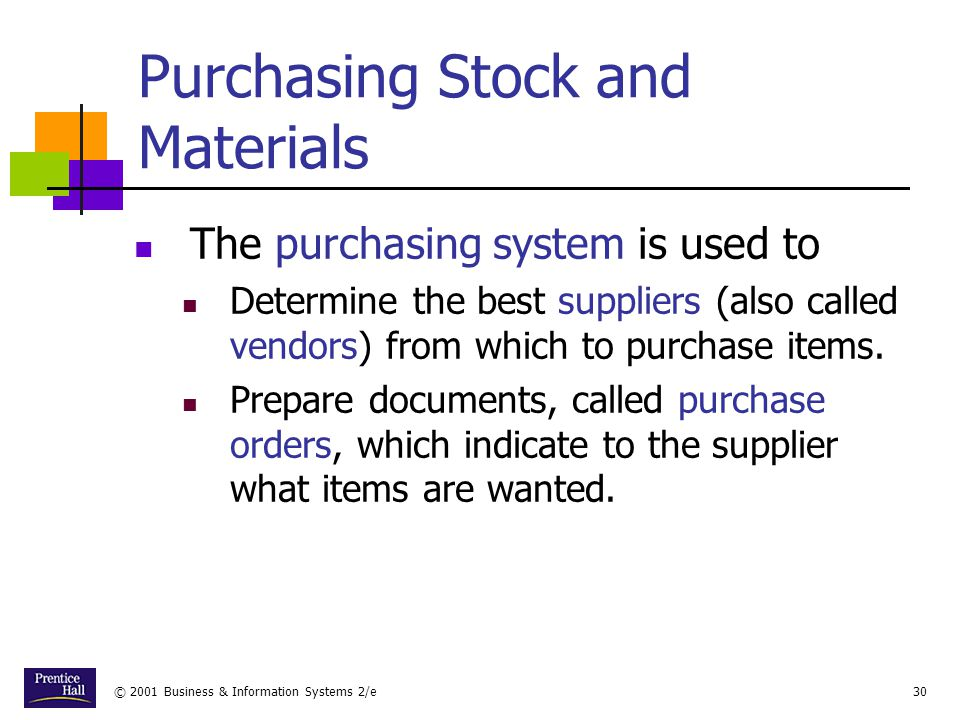 Purchasing Stock and Materials