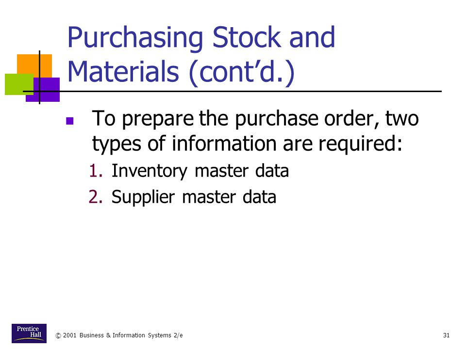 Purchasing Stock and Materials (cont'd.)