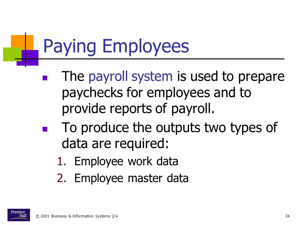 Chapter Paying Employees. The payroll system is used to prepare paychecks for employees and to provide reports of payroll.
