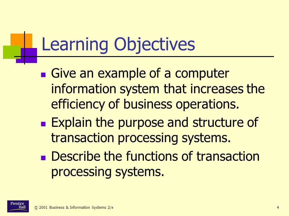 Chapter Learning Objectives. Give an example of a computer information system that increases the efficiency of business operations.
