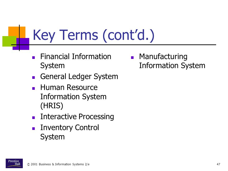 Key Terms (cont'd.) Financial Information System General Ledger System
