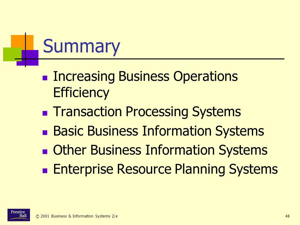 Summary Increasing Business Operations Efficiency