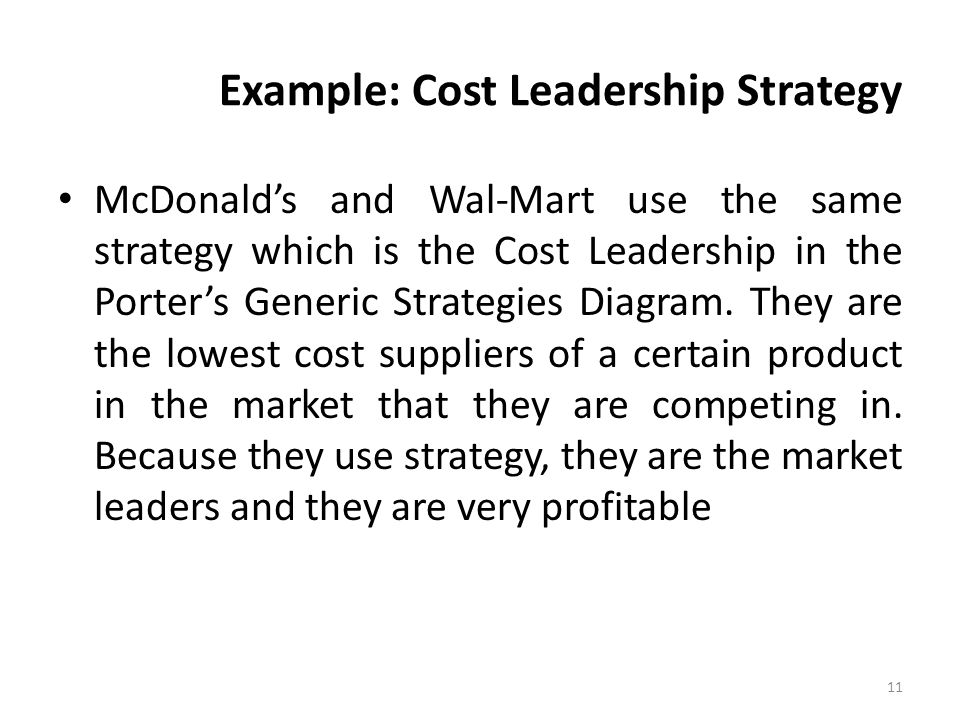 Example: Cost Leadership Strategy