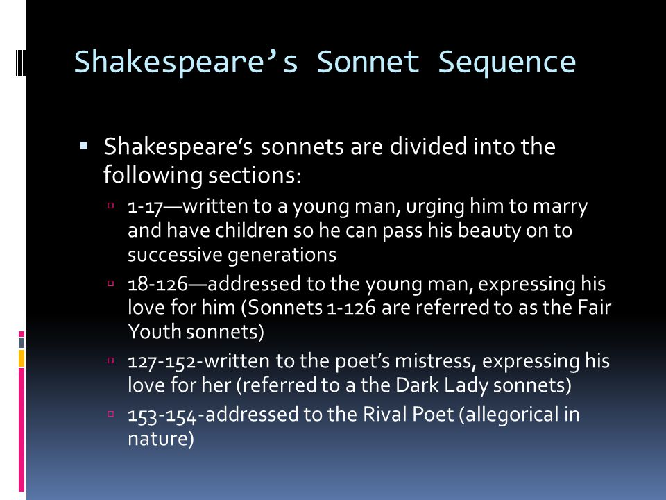 Shakespeare's Sonnet Sequence
