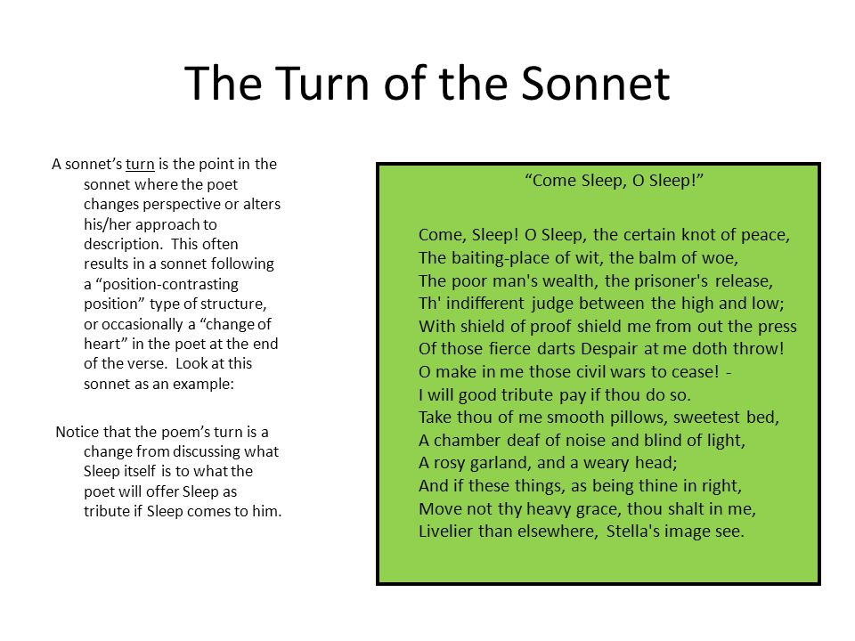 The Turn of the Sonnet