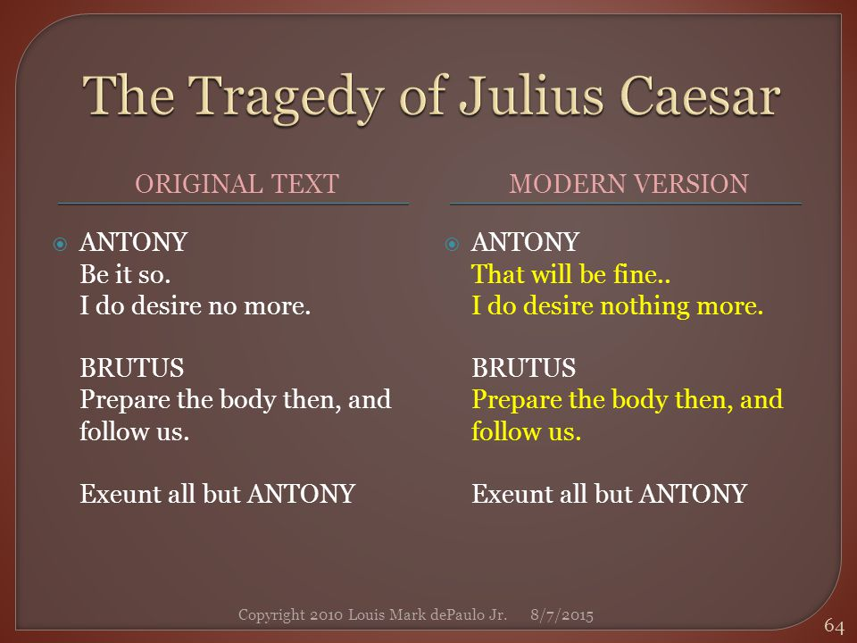 a comparison of the speeches of brutus and antony in the play the tragedy of julius caesar by willia In william shakespeare's play, the tragedy of julius caesar, the wives of caesar and brutus in act ii, scenes i and ii, both had a different relationships with their husbands both couples loved each other, however, they reacted and influenced to each other differently.