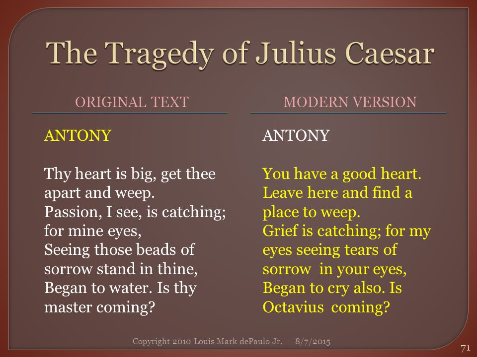 tragedy of julius caesar Did not great julius bleed for justice' sake what villain touch'd his body, that did stab, and not for justice  o julius caesar, thou art mighty yet.