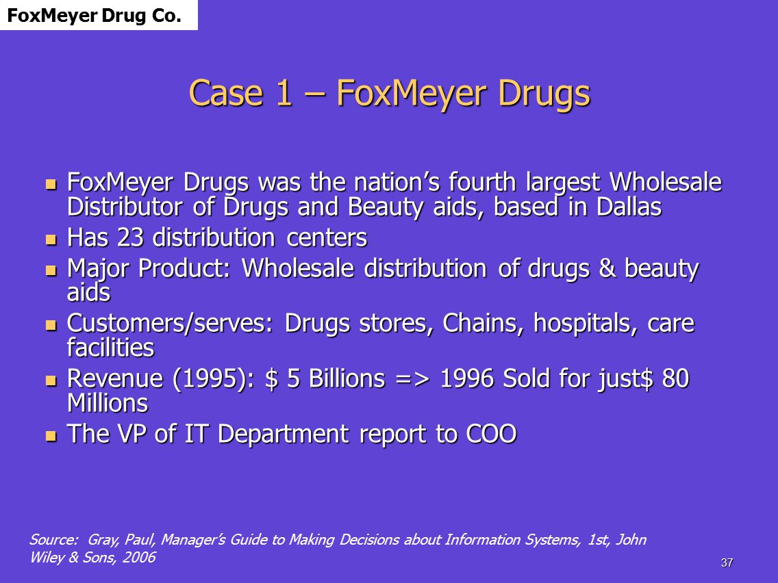 erp implementation at foxmeyer drugs W138 online file w84 foxmeyer case: a failure implementation 1 11 of large erp background business of foxmeyer foxmeyer was the fifth largest drug wholesaler in the united states (1995.