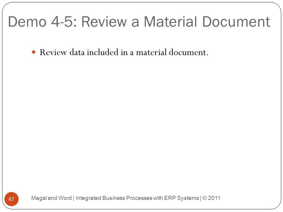 Demo 4-5: Review a Material Document