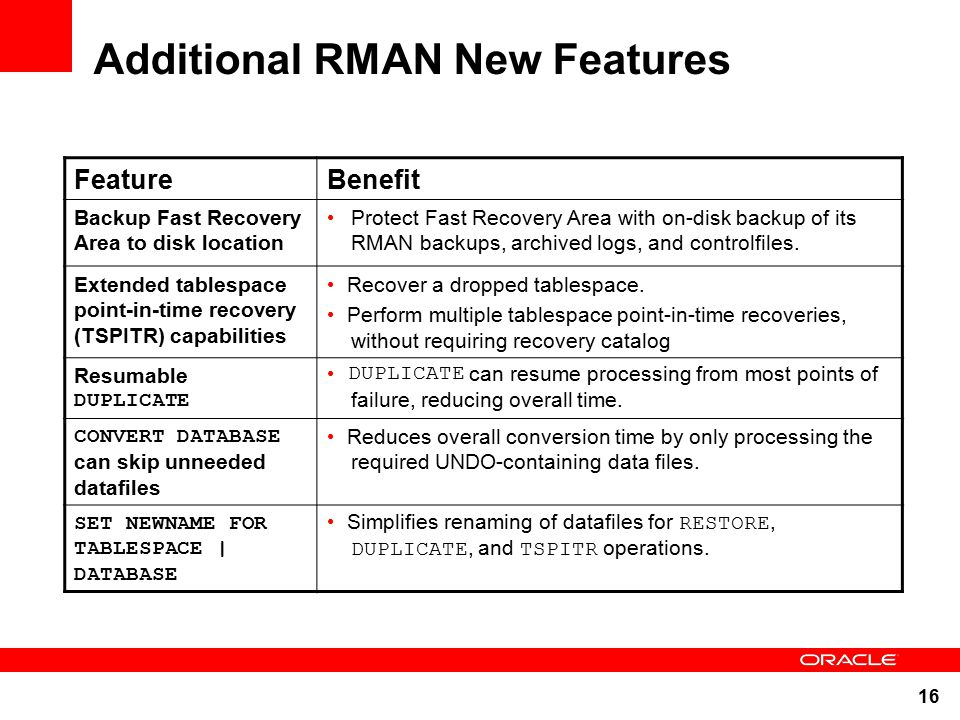 oracle database backup and recovery best practices and new