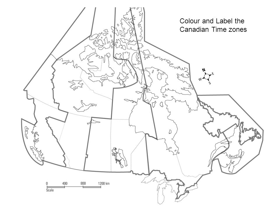 Colour and Label the Canadian Time zones