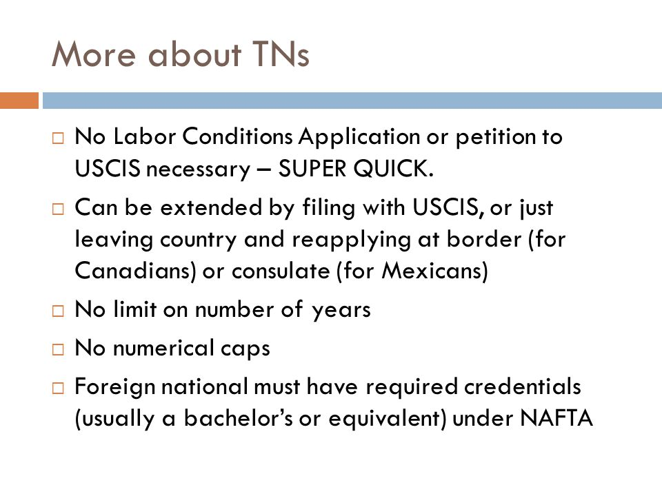 More about TNs No Labor Conditions Application or petition to USCIS necessary – SUPER QUICK.