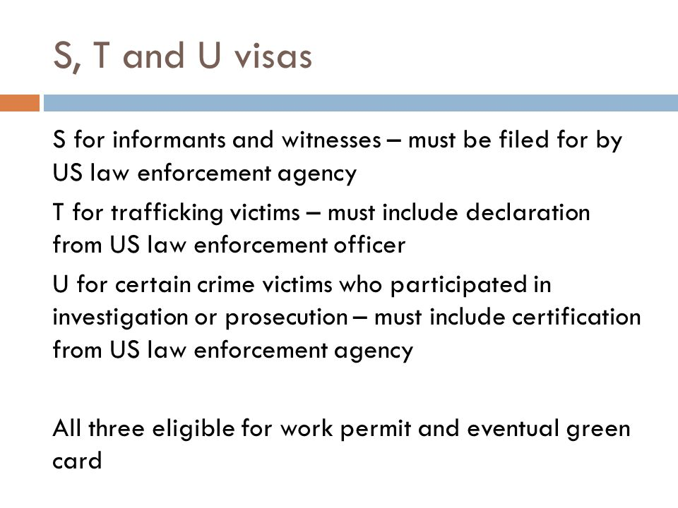 S, T and U visas