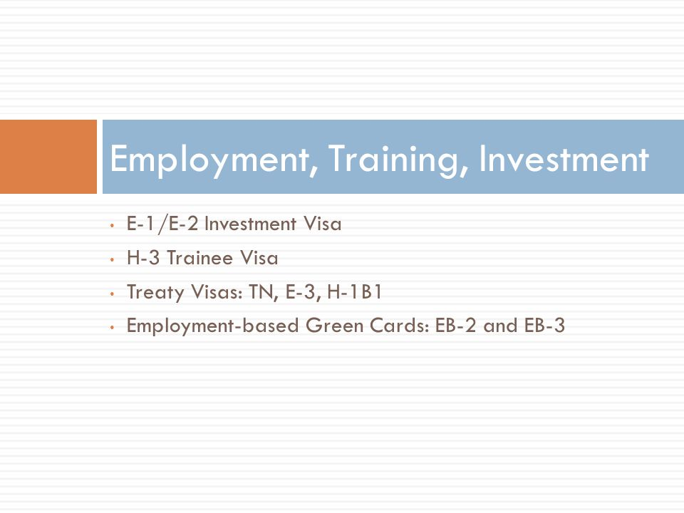 Employment, Training, Investment