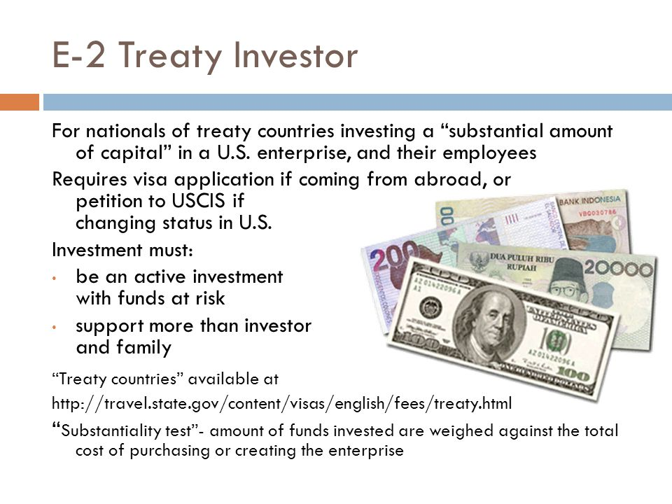 E-2 Treaty Investor For nationals of treaty countries investing a substantial amount of capital in a U.S. enterprise, and their employees.