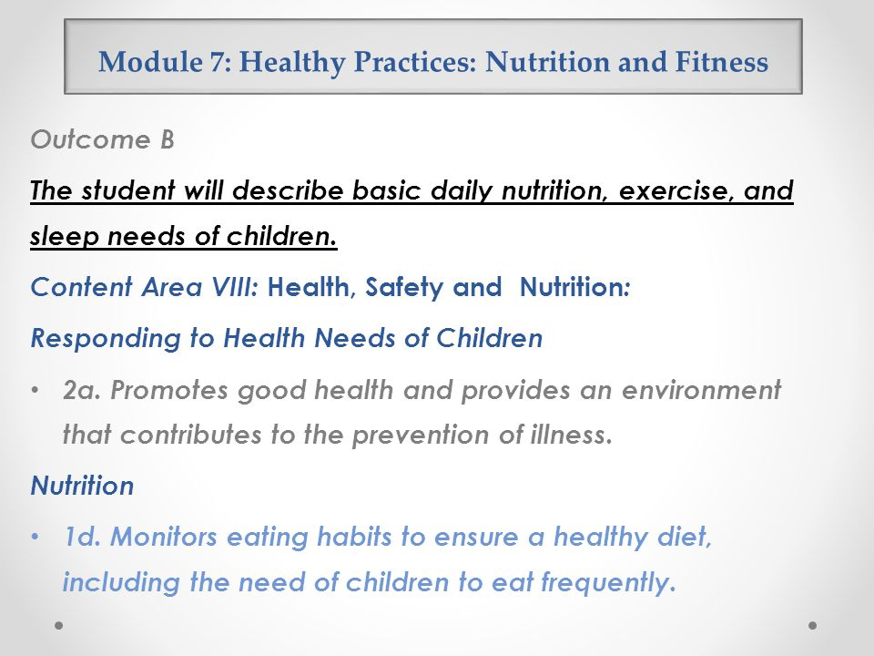 Module 7: Healthy Practices: Nutrition and Fitness