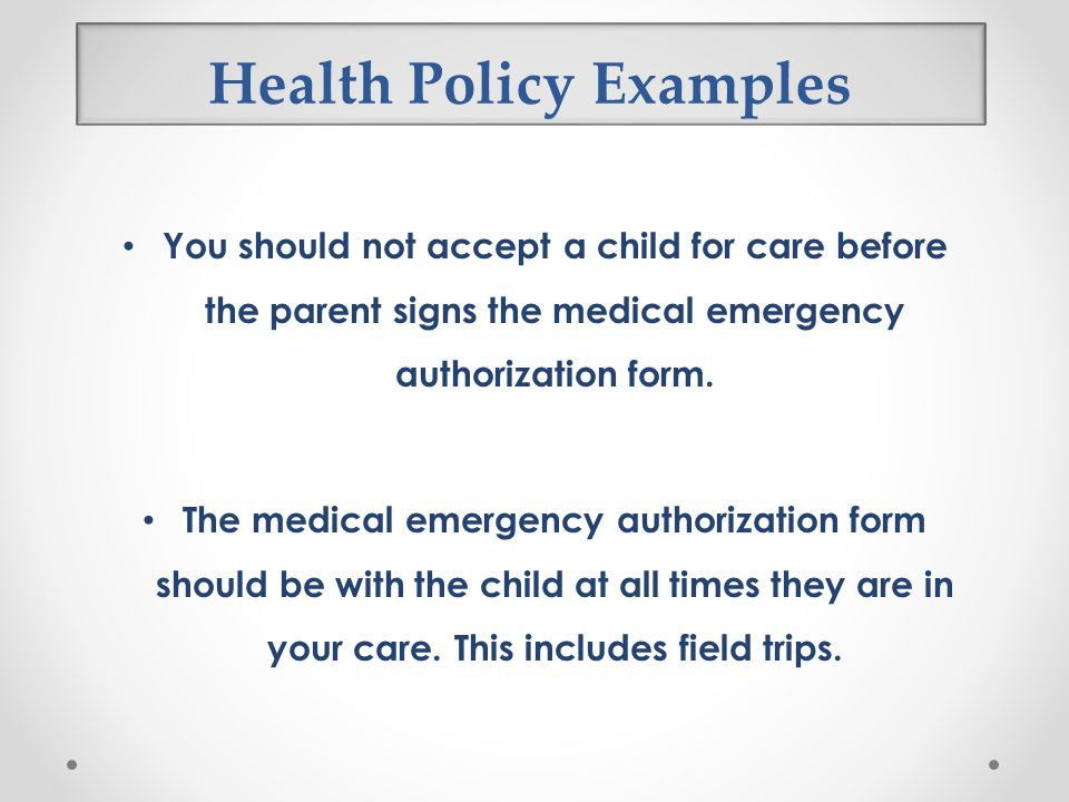 Health Policy Examples