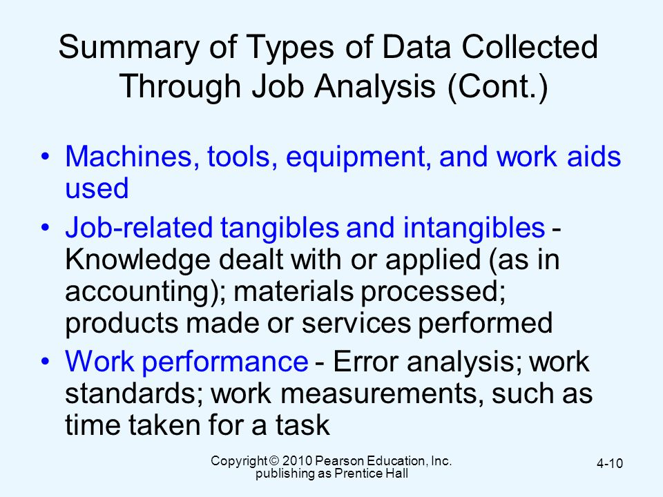 Summary of Types of Data Collected Through Job Analysis (Cont.)