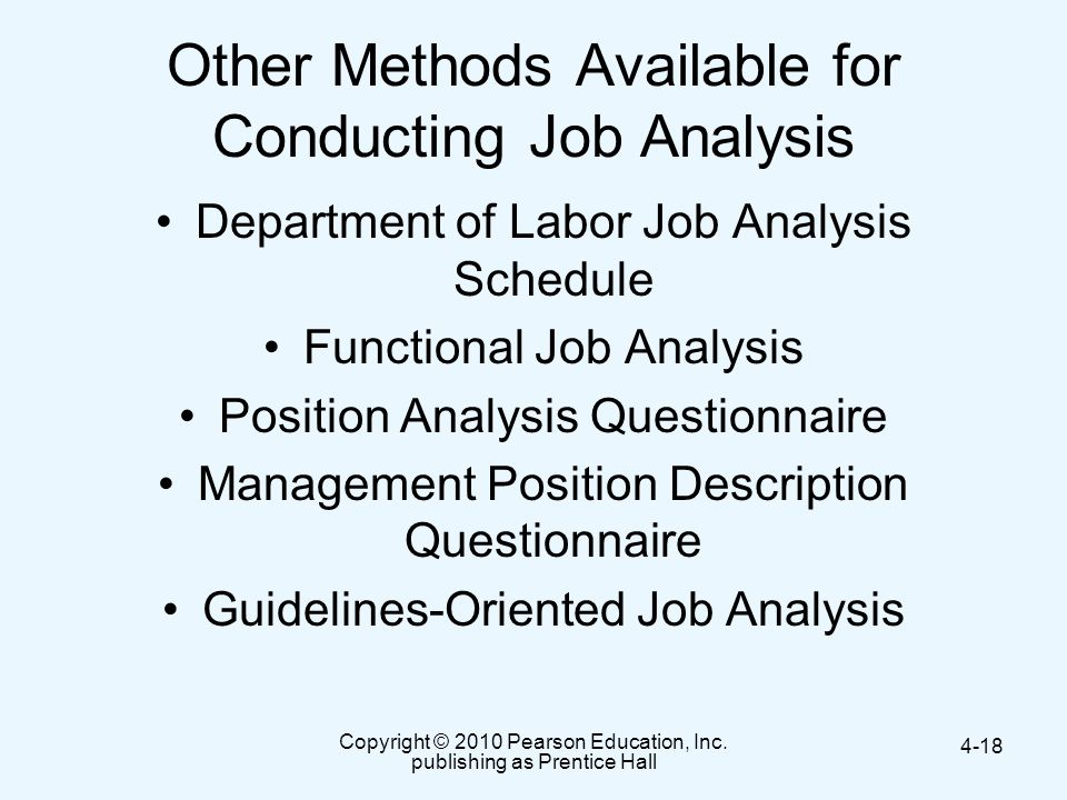Other Methods Available for Conducting Job Analysis