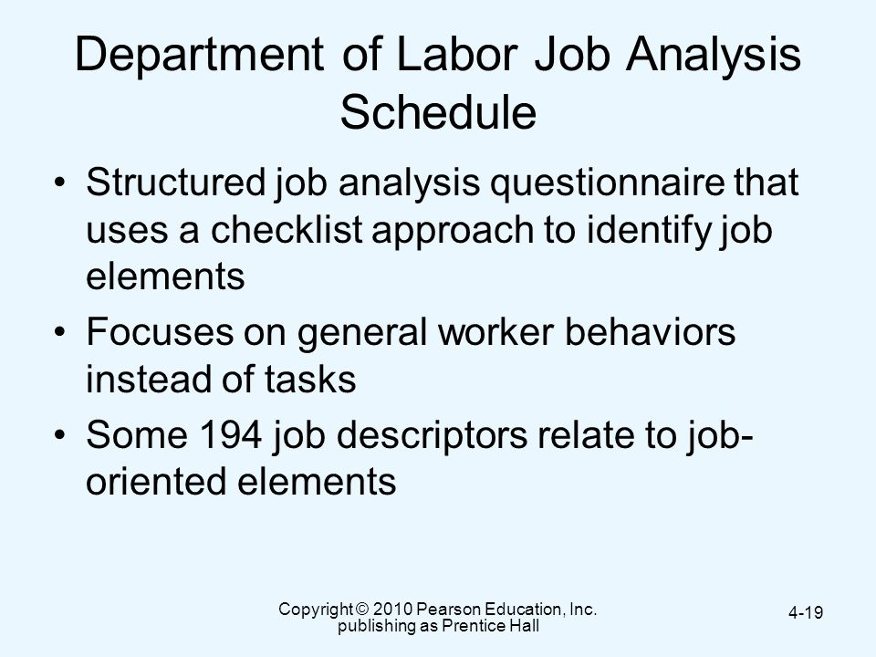 Department of Labor Job Analysis Schedule