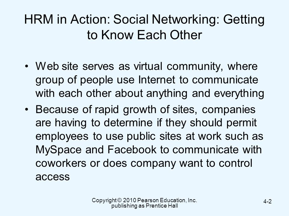 HRM in Action: Social Networking: Getting to Know Each Other