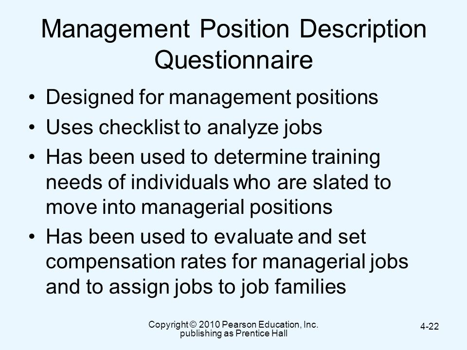 Management Position Description Questionnaire