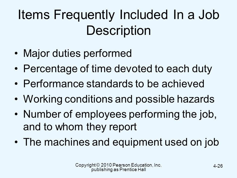 Items Frequently Included In a Job Description