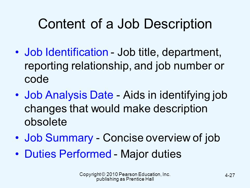 Content of a Job Description
