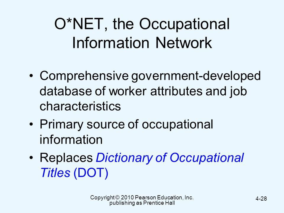 O*NET, the Occupational Information Network