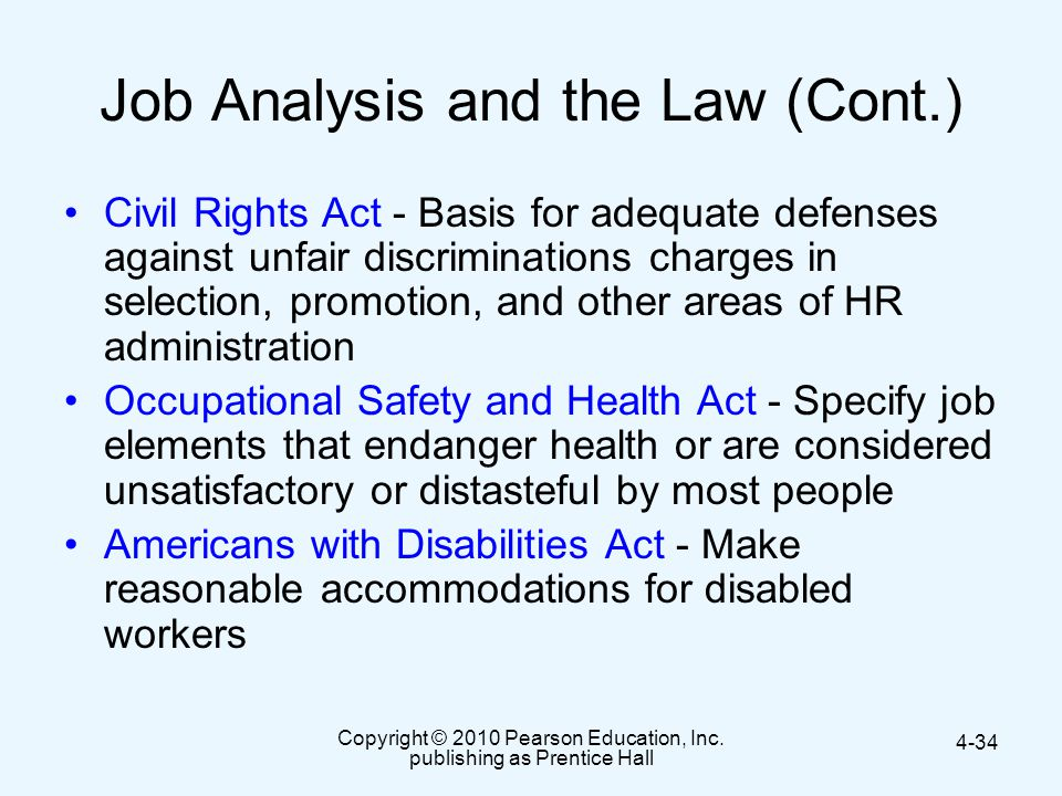 Job Analysis and the Law (Cont.)