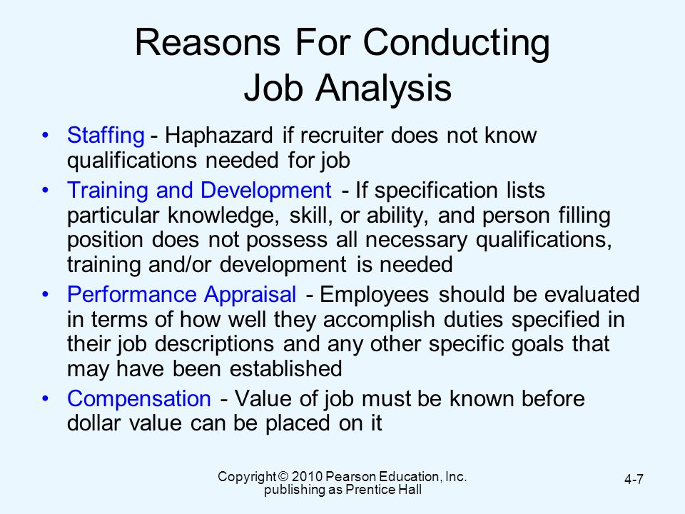 Reasons For Conducting Job Analysis