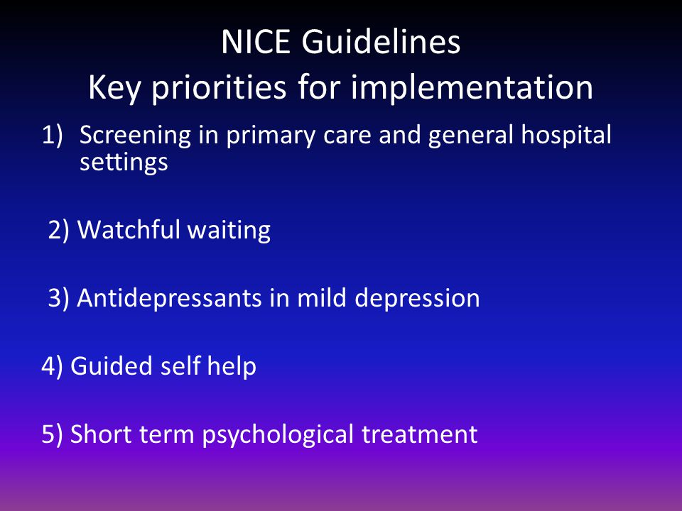 nice guidelines depression and anxiety