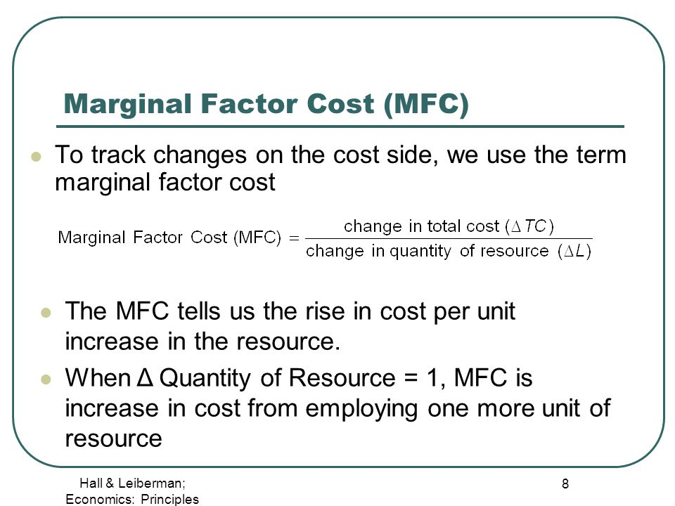 how to find marginal factor cost
