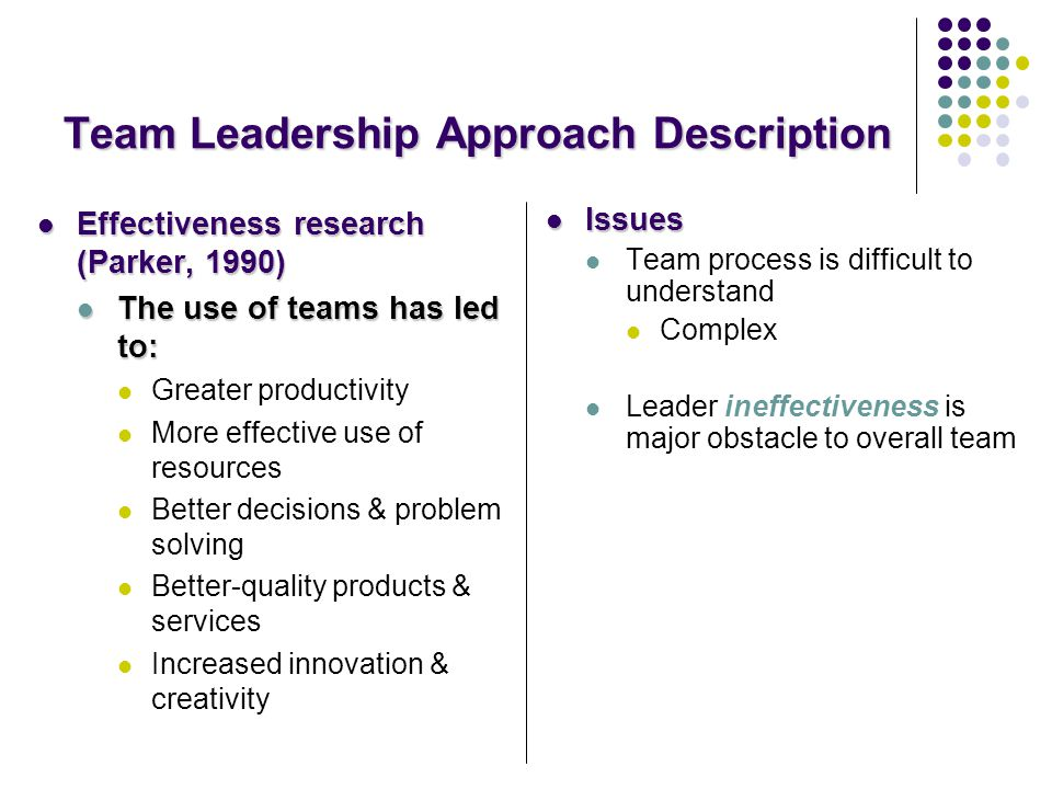 team leadership approach Organizational leadership is a dual focused management approach that works towards  five key components of organizational leadership are  our leadership team.
