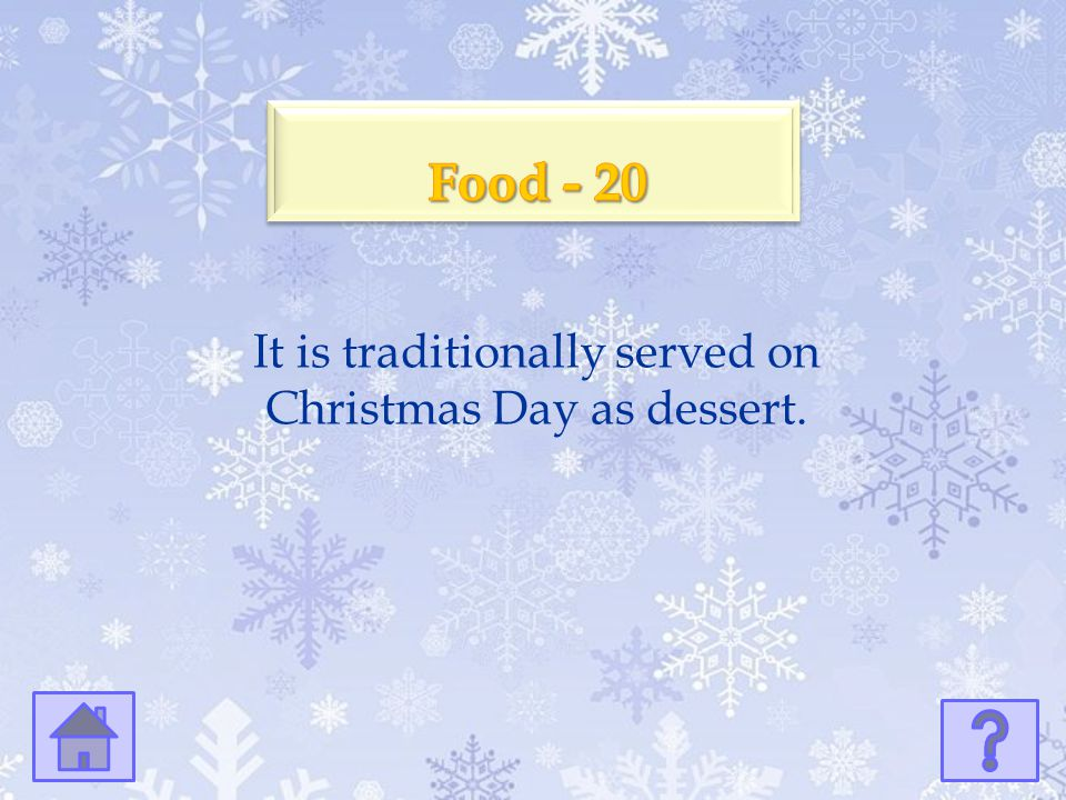 It is traditionally served on Christmas Day as dessert.