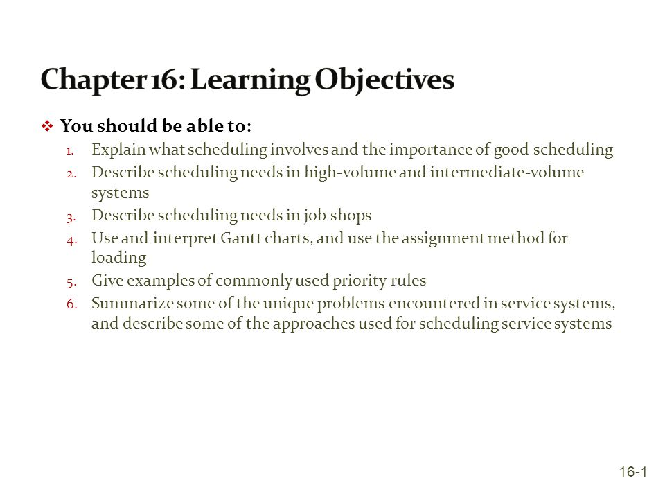 Chapter 16: Learning Objectives
