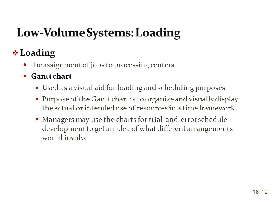 Low-Volume Systems: Loading