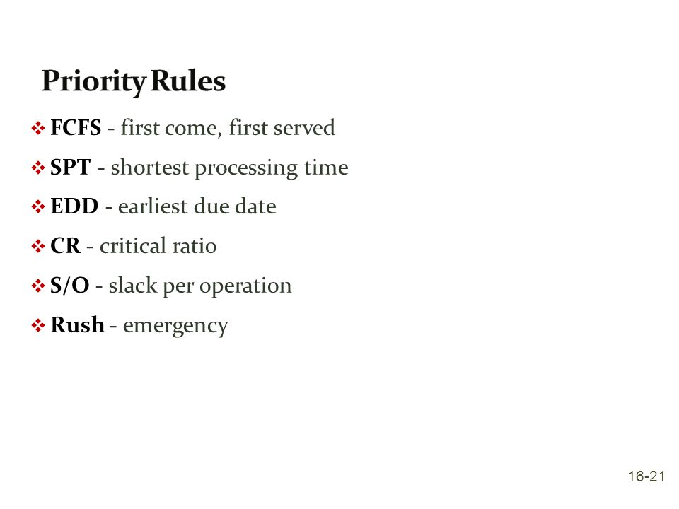 Priority Rules FCFS - first come, first served