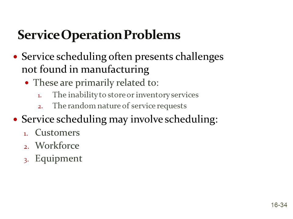 Service Operation Problems