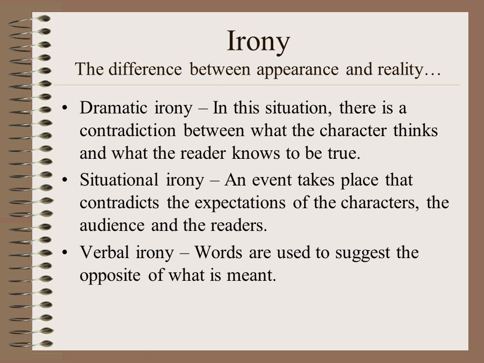 Irony The difference between appearance and reality…