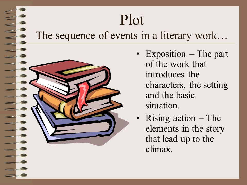 Plot The sequence of events in a literary work…